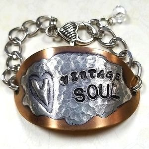 Handmade Hammered Brass Vintage Soul Bracelet
